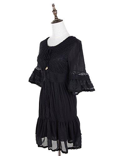 Anna-Kaci - Robe - Taille empire - Manches Courtes - Femme Small Noir