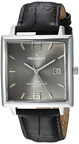 Peugeot Men's Analog-Quartz Watch with Leather Strap 2062GY