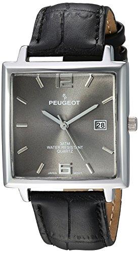 Peugeot uomo 'moderno rettangolare' Orologio al quarzo in metallo e cuoio casual, colore nero (modello: 2062GY)
