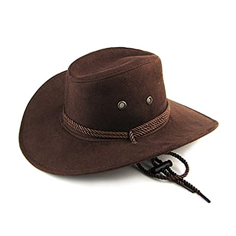 Imixcity Unisex Western Cowboy Outback Hat with Drawstring for Dress Party or Outdoor Ranc (One Size, Brown)