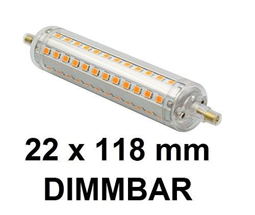 DIMMBARE LED Stab-Lampe R7S - Retrofit - 118 mm Länge, 22 mm Durchmesser - 10 Watt - 1100 Lumen - Warmweiß 2700 Kelvin - 360° Ausstrahlung - entspricht ca. 100 Watt Halogenstablampe. Ideal für Deckenfluter mit Dimmern und Baustrahlern, Arbeitsleuchten mit 118 mm Halogenstablampen