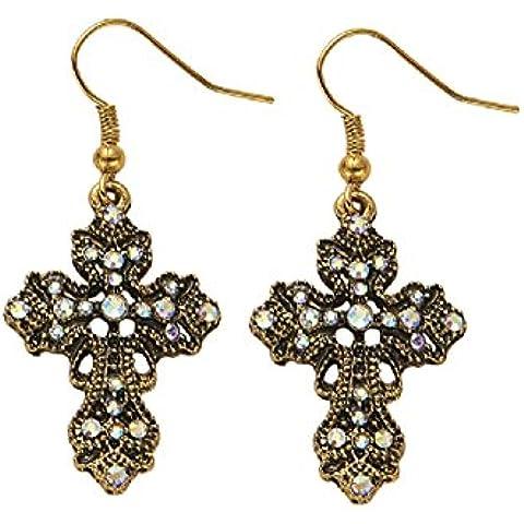 Cristalli Orecchini pendenti a croce placcato in oro anticato