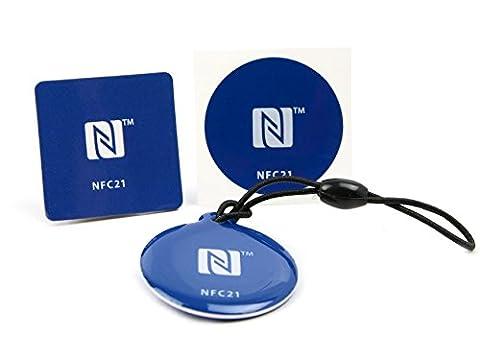 NFC Tags Starter Kit S - NFC Anhänger + NFC Magnet + NFC Sticker, wasserfest, kompatibel mit allen NFC Geräten, kostengünstiger Einstieg in die NFC (Nfc Sticker)