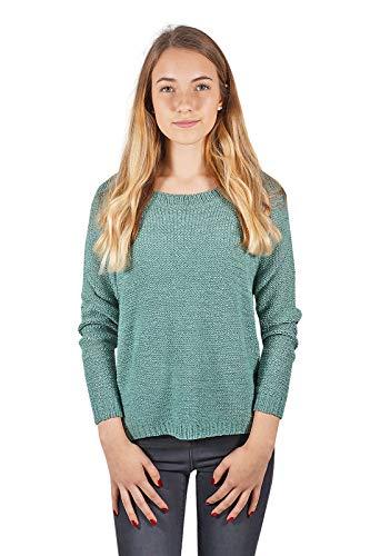 VERO MODA vmcharity Damen Pullover lockerer Grob-Strickpullover mit Rundhals-Ausschnitt Pulli für Frauen, Größe:M, Farbe:Grün