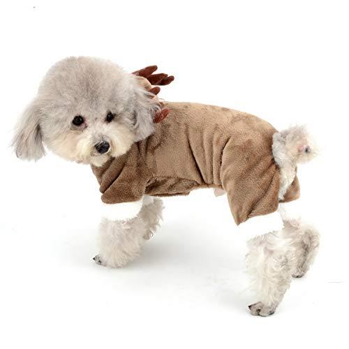 SELMAI Hunde-Overall mit Kapuze und Kapuze aus Fleece, für Weihnachten, Halloween, Elch, Elch, Elch, für Welpen, Weihnachten, PJS, Chihuahua, Yorkie, Urlaub, Partykleidung