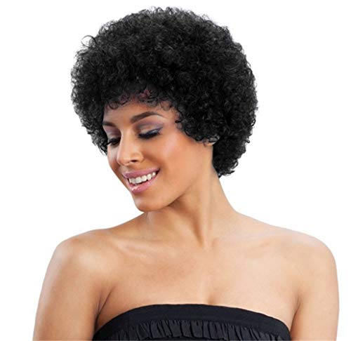 ALICE Peluca cabello humano rizado corto Afro Wig