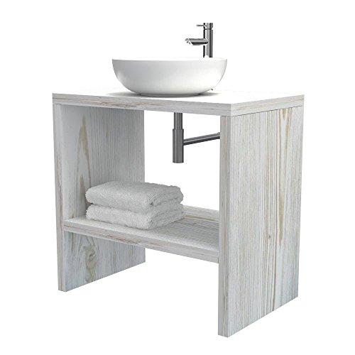 Mobiletto bagno a terra - mensola lavabo portaoggetti, anche su misura, in 9 diverse colorazioni design 100% made in italy, per bagno e lavabi d'appoggio (shabby chic, l80 - p50 - h78 cm)