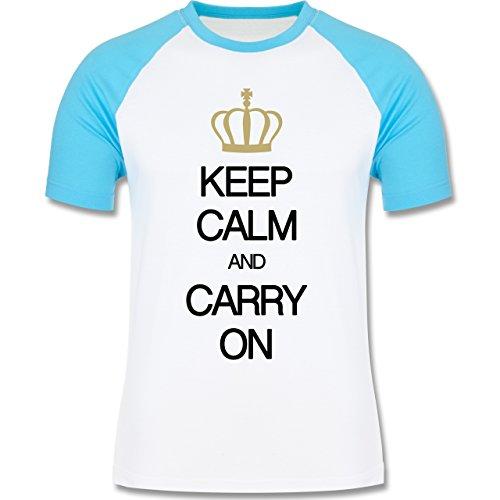 Shirtracer Keep Calm - Keep Calm and Carry On - Herren Baseball Shirt Weiß/Türkis