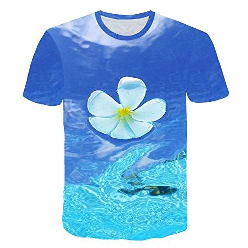hirts für den Sommer Vintage und Urlaub Lässige Neuheit Cool Travel T-Shirt mit kurzen Ärmeln,3D Blume blau S ()