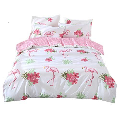 Chickwin Bettwäsche Set 4 Teilig, Bettwäsche Set 135x200 200x200 Mikrofaser Flashion Stil Gemütlich Bettbezug -Set,1 Bettbezug +2 Kissenbezug+1 Blätter (240x220cm,Flamingo) -