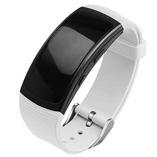 OenFoto kompatibel Gear Fit 2 Pro/Fit 2 Armband, Ersatz Silikon Zubehör Gurt für Samsung Gear Fit 2 Pro SM-R365 / Gear Fit2 SM-R360 Smartwatch -Neu Weiß -