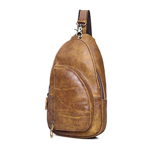 Echtes Leder Männer Sling Bag Brust Outdoor Sport Schulter Paket (Hobo Leder Sling-rucksack Echtes)