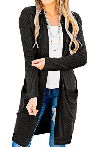 For G and PL Womens Autumn Long Sleeve Knitted Cardigan Sweater Coat with Pocket