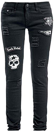 Rock Rebel by EMP Skull Patch Megan (Skinny Fit) Jeans donna nero W31L34