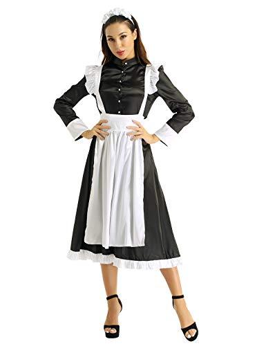 YiZYiF Damen Vintage Dienstmädchen Kostüm Viktorianisch Maid Cosplay Schürze Kleider Partykleid Zimmermädchen Kostüm mit Kopfbedeckung Schwarz (20 Vintage Kostüm)