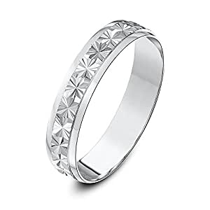 Theia 9ct White Gold Heavy Weight - Star Centre Design D-Shape 4mm Wedding Ring - Size H