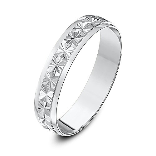 Theia Unisex - Ehering Schweres Gewicht -Center Sterne Design D-Form 9ct weißgold 4mm - Gr. 53 (16.9) TH3845-M