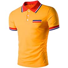 Camiseta y polos basica,Beikoard polos de Camiseta Diseño de manga corta botones media cardigans Slim Fit Casual…