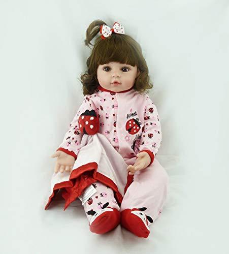 ealistische Entzückende Marienkäfer Prinzessin Baby Mädchen in Silikon Vinyl Langes Lockiges Haar Gefüllte Tuch Körper Wiedergeboren Neugeborenen Puppen Kindertag ()
