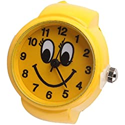 JaneDream Cute Boy Girls Smile Face Round Elastic Quartz Finger Ring Watch Yellow