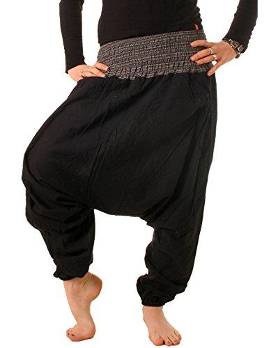 vishes Goa Hose Haremshose Harem Pant Sommerhose Pumphose Pluderhose schwarz Größe 34 bis 44 (Harem Hose Schwarz)