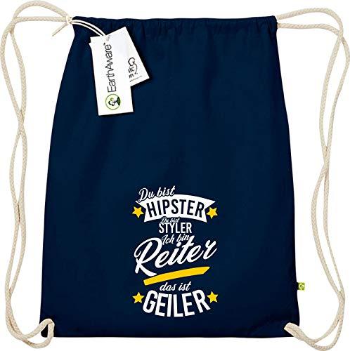 Shirtstown Gymsack, du bist Hipster du bist Styler ich Bin Reiter das ist Geiler, Bio Fairtrade, Sprüche Spruch Logo Motiv, Turnbeutel Tasche Sport Beutel, Farbe Blau
