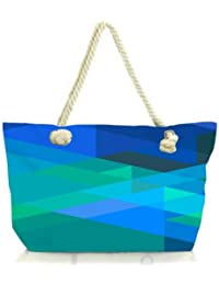 Snoogg Stripes Forming Rhombuses 2796 Women Anchor Messenger Handbag Shoulder Bag Lady Tote Beach Bags Blue