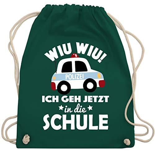 Einschulung und Schulanfang - Wiu Wiu Ich geh jetzt in die Schule Polizeiauto - Unisize - Dunkelgrün - WM110 - Turnbeutel & Gym Bag