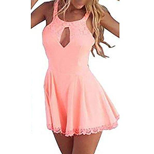 Pinkyee Damen Sexy Spitze Spielanzug Party Abend Kleid Jumpsuit Rosa - Pink