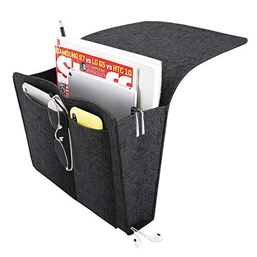 MoKo Bedside Caddy, Soft Felt Bed Hanging Storage/Organizer with Pockets, Magazine Phone Tablet Tissue Holder, Convenient Open Bag for Bedroom, Living Room, Dorm Room, Sofa, Desk - Dark Gray