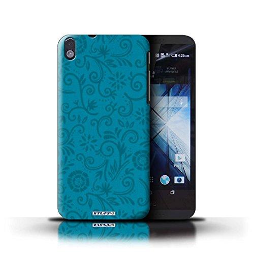 Kobalt® Imprimé Etui / Coque pour HTC Desire 816 / Fleur pourpre conception / Série Motif Remous floral Fleur bleue
