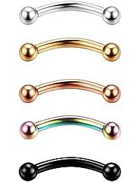 Besteel Los anillos Piercing de la ceja de la joyería del del acero inoxidable 5pcs 14G-16G fijaron la bola de 3mm