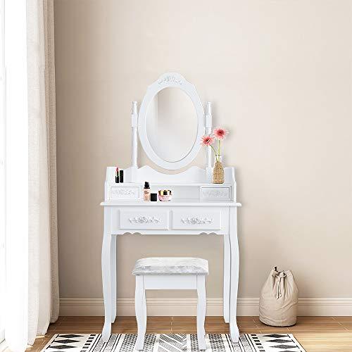 Hengda Tocador Mesa Maquillaje tocador blanco con espejo y ...