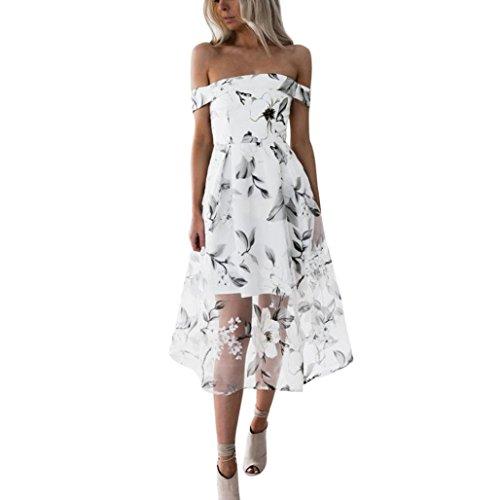 online retailer 65cf2 74328 feiXIANG Vestito da donna, Abito Abiti Vestito da Matrimonio damigella  d'onore di cerimonia nuziale Scollato floreale stampato Vestito Per Mini  Abito ...