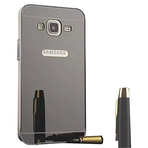 Funda Espejo Aluminio Metal Carcasa para Samsung Galaxy Grand Neo Plus / Grand Neo / Grand Lite GT-i9060i i9060 i9062 i9082 (5 pollici) Color Negro