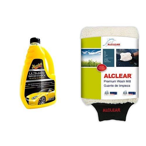 Meguiar's G17748EU Ultimate Wash & Wax Autoshampoo, 1420ml und ALCLEAR Waschhandschuh