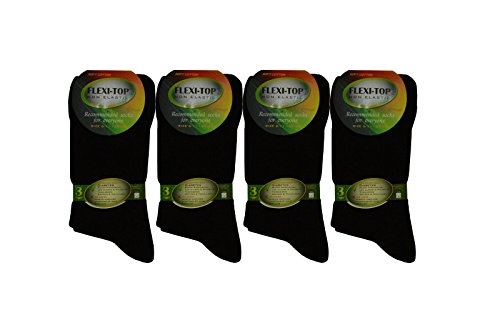 6 Pairs of Diabetic Socks – Cotton Rich Non Elastic with Flexi Top in Black