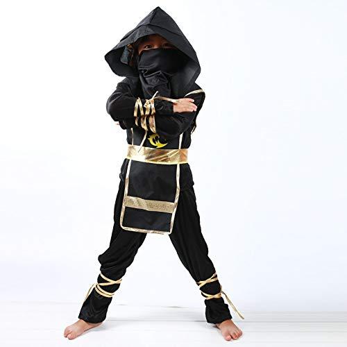 Zygeo - Kinder Ninja-Kostüme Halloween-Party-Jungen-Mädchen-Krieger Stealth Kinder Cosplay Meuchelmörder Kostüm Kindertagesgeschenke [L Schwarz]