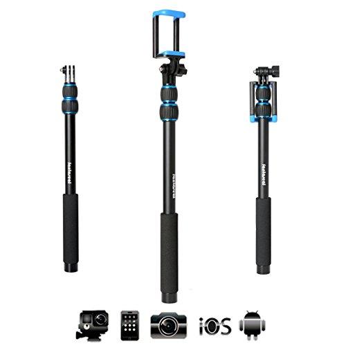 Fantaseal Alluminio X-Sport selfie Stick Sport selfie Stick selfie bastone telescopio telecamere f azione come Sony GoPro Xiaoyi Garmin SJCAM + Smartphone + compatta macchina fotografica 3-in-1 - Nero+Blu
