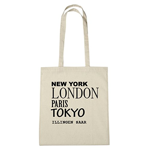 JOllify Illingen Saar di cotone felpato B1744 schwarz: New York, London, Paris, Tokyo natur: New York, London, Paris, Tokyo