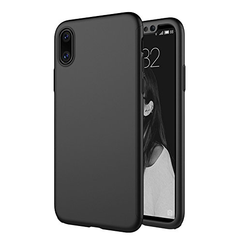 iPhone X Hülle Ganzkörper, 360 Grad Schutz Ultra Dünn Hard Slim Fall beschichtete rutschfeste matt Oberfläche mit Tempered Glas Displayschutzfolie für Apple iPhone X (Blau) schwarz