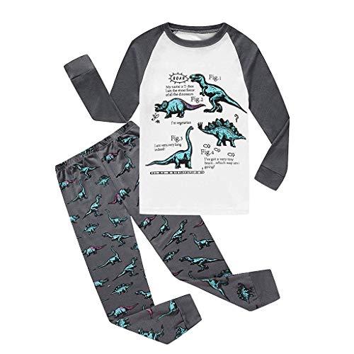 KUKICAT Pyjamas Unisexe Enfant Col Rond Imprimé, Motif de Dinosaure en Dessin Animé Ensemble Pyjamas Tops + Pantalons Sleepwea