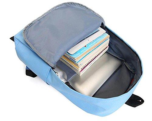 FZHLY Zaino Da Viaggio Di Viaggio Di Viaggio Dello Zaino Dello Studente Di Scuola Media Quattro Set Di Borse Da Scuola,Gray Blue