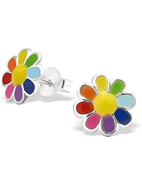 JAYARE Kinder-Ohrstecker Gänseblümchen 925 Sterling Silber Emaille 8 x 8 mm mehrfarbig bunt Ohrringe