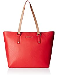 Aquatan Women's Dress Up Tote Large Leather Bright Red with Creme Handle AT-L-03