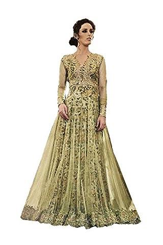 IWS Green Color Net Incredible Salwar Kameez in Long Anarkali Style 79290