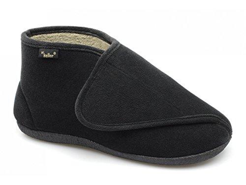 Dr Keller en tissu-éponge Extra EE pour homme Coupe large Velcro-Gerald-Noir Noir - noir