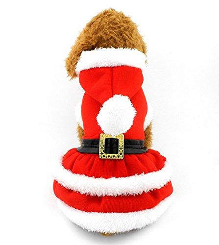 Hunde Kostüm Teacup Größe - Pegasus Weihnachten Kleidung Plissee Kleid Hund Hoodie Kostüm Button vorne rot, für kleine Hund Katze Puppy