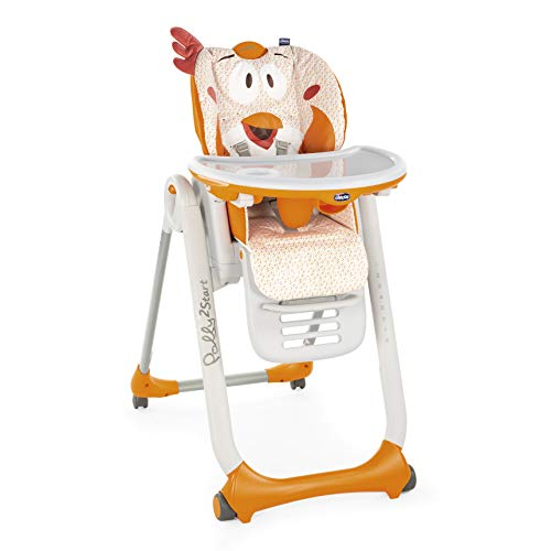 Chicco Polly 2 Start Trona y hamaca transformable y compacta, con 4 ruedas y freno, de 0 a 3 años, diseño gallina naranja (Fancy Chicken)
