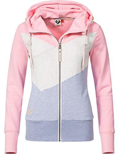 Ragwear Damen Jacke Übergangsjacke Sweatjacke Viola Block Zip Pink Gr. M (Block Hoody Sweatshirt)